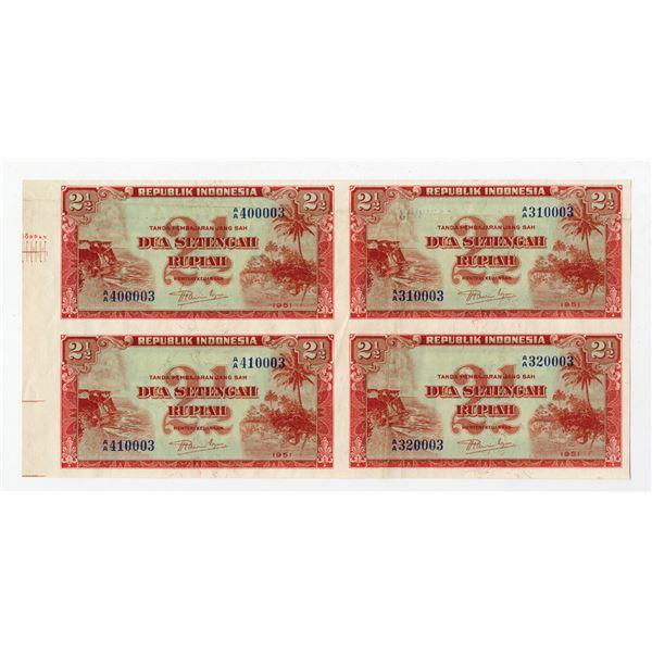 Republik Indonesia, 1951 Uncut Specimen/Proof Block of 4 Notes.