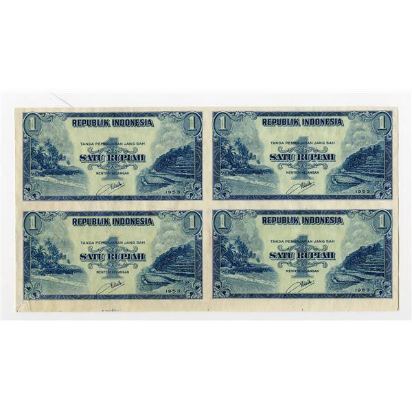 Republik Indonesia, 1953 Uncut Specimen/Proof Block of 4 Notes.