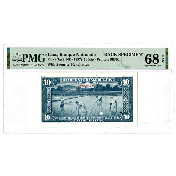 Banque Nationale du Laos, ND (1957) Back Specimen Banknote