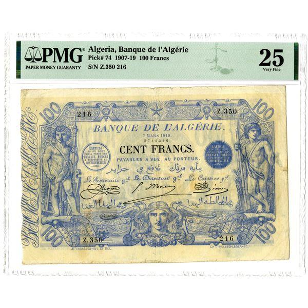 Banque de l'Algerie, 1907-19 Issued Banknote