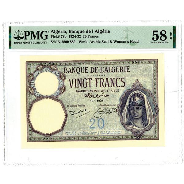 Banque de l'Algerie, 1924-32 Issued Banknote