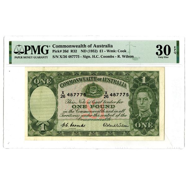Commonwealth of Australia, ND (1952) Issued Banknote