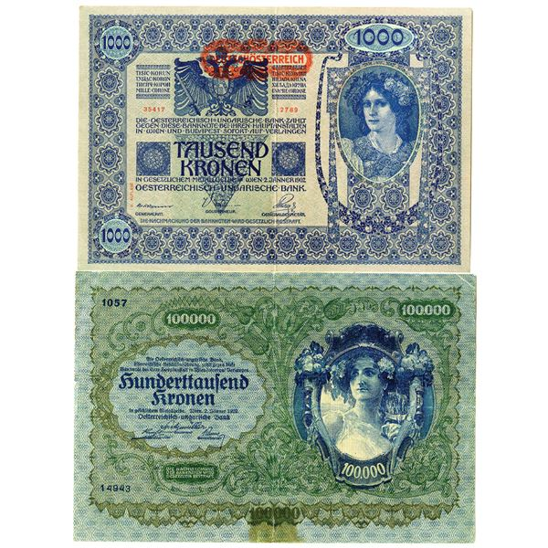 Austrian Issued Banknote Pair, ca. 1902-1922