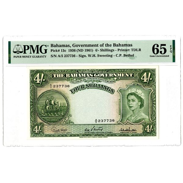 Government of the Bahamas, 1936 (ND 1961) Issued Banknote