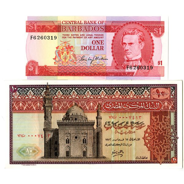 Egypt and Barbados Issued Banknote Pair
