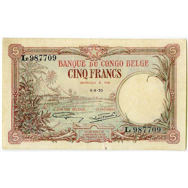 Banque du Congo Belge, 1929-30 Issued Banknote