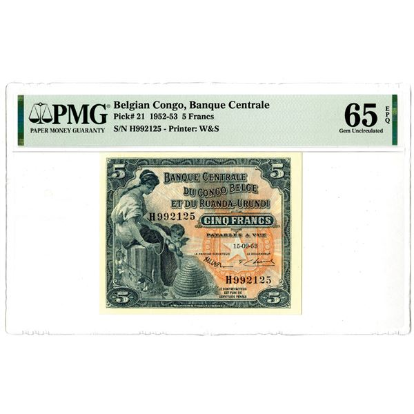 Banque Centrale du Congo Belge et du Ruanda-Urundi, 1952-53 Issued Banknote