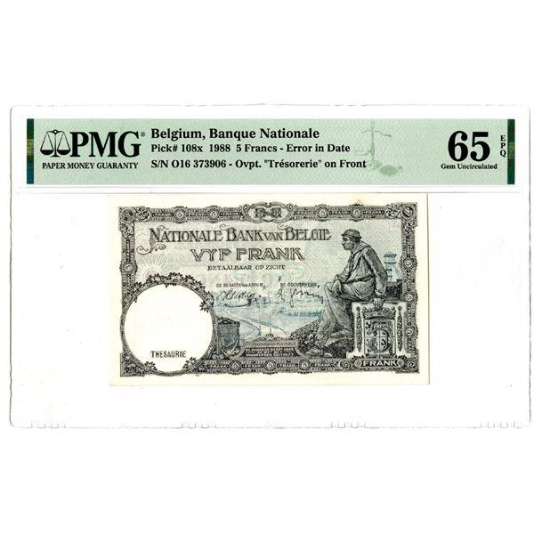 """Banque Nationale de Belgium, 1988 """"Top Pop"""" Issued Error Banknote"""