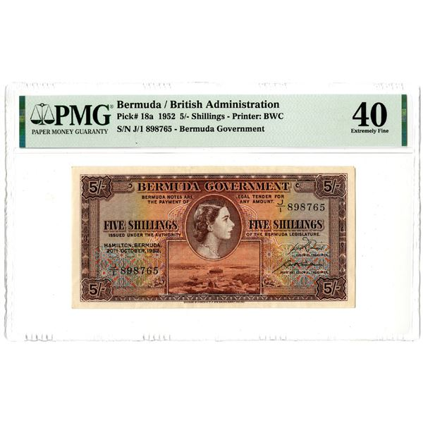 Bermuda Government, 1952 Issued Banknote