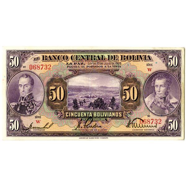 Banco Central de Bolivia, 1928 Issued Banknote
