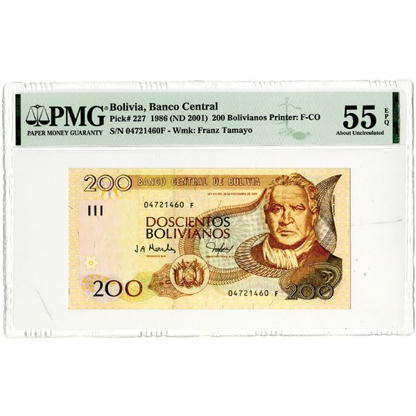 Banco Central de Bolivia. 1986 (ND 2001) Issued Banknote