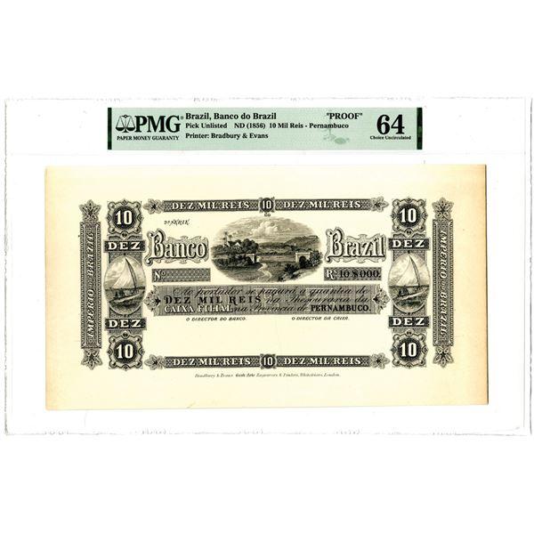 Banco do Brazil, ND (1856) Proof Banknote