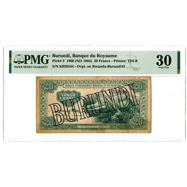 Banque d'Emission du Rwanda et du Burundi, 1960 (ND 1964) Issued Banknote
