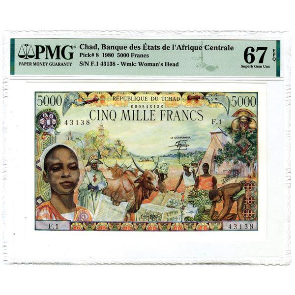 """Banque des Etats de l'Afrique Centrale, 1980 """"Top Pop"""" Issued Banknote"""