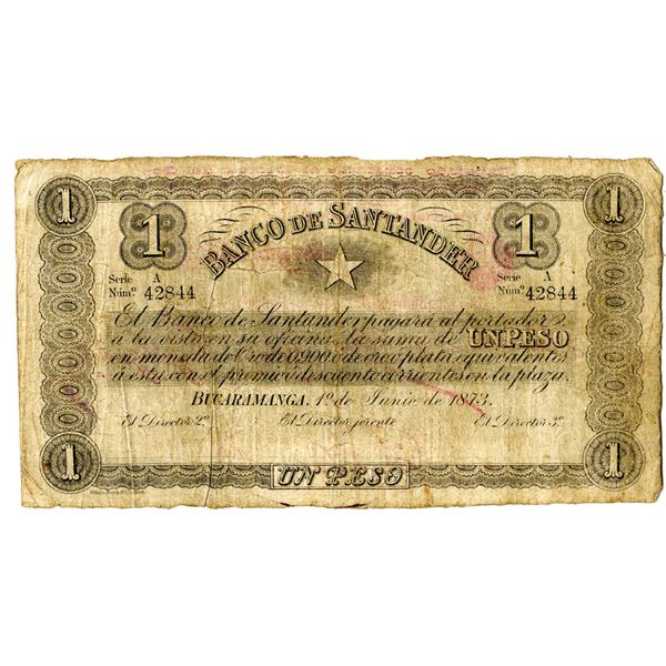 Banco de Santander, 1873 Issued Banknote