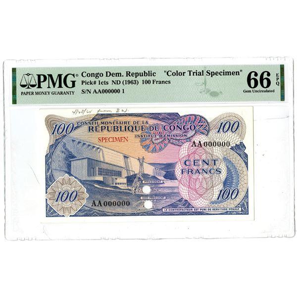 Conseil Monetaire de la Republique du Congo Institut d'Emission, ND (1963) Color Trial Specimen Bank