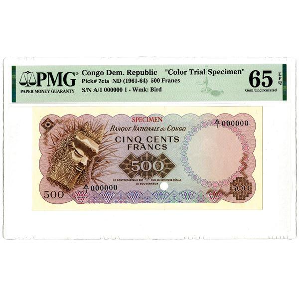 "Banque Nationale du Congo, ND (1961-64) ""Top Pop"" Color Trial Specimen"
