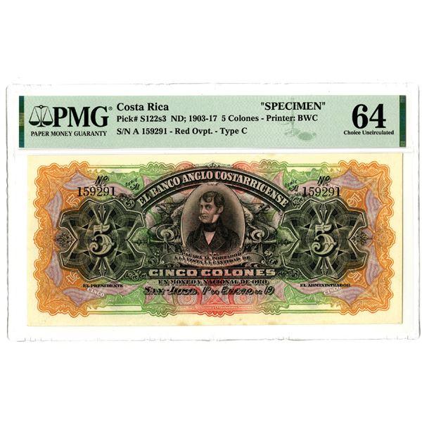 El Banco Anglo Costarricense, ND (1903-17) Specimen Banknote