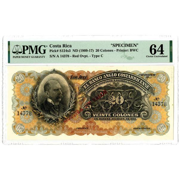 El Banco Anglo Costarricense, ND (1909-17) Specimen Banknote