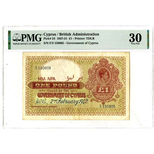 Government of Cyprus, 1937-51 Issued Banknote