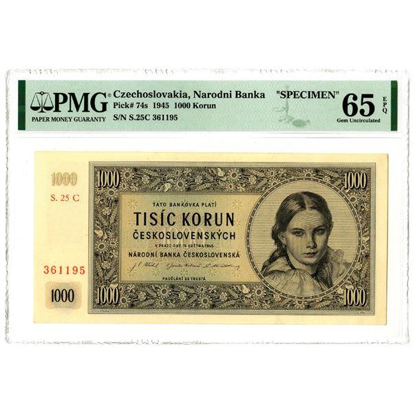 Narodni Banka, 1945 Specimen Banknote
