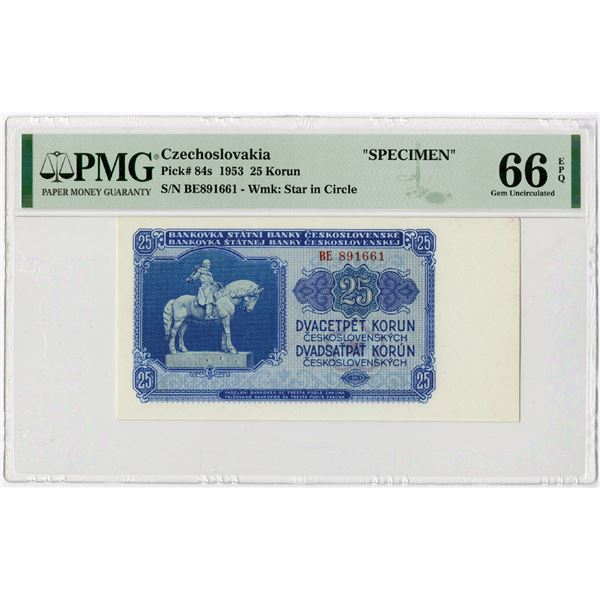 Republic of Czechoslovakia, 1953 Specimen Banknote