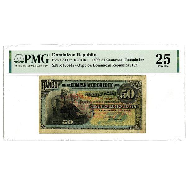 Banco de la Compania de Credito de Puerto Plata, 1899 Issued Remainder Banknote