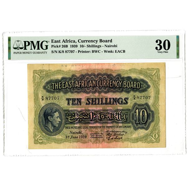 East African Currency Board, 1939 Issued Banknote