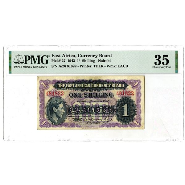 East African Currency Board, 1943 Issued Banknote