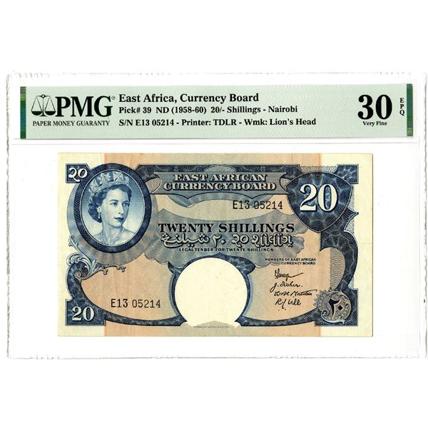 East African Currency Board, ND (1958-60) Issued Banknote