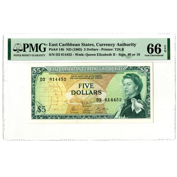 East Caribbean Currency Authority, ND (1965) Issued Banknote