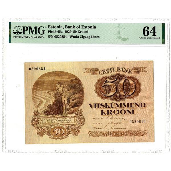 Bank of Estonia, 1929 Issue Banknote.