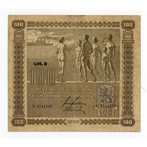 Finlands Bank, 1939 (ND 1939-45) Issued Banknote