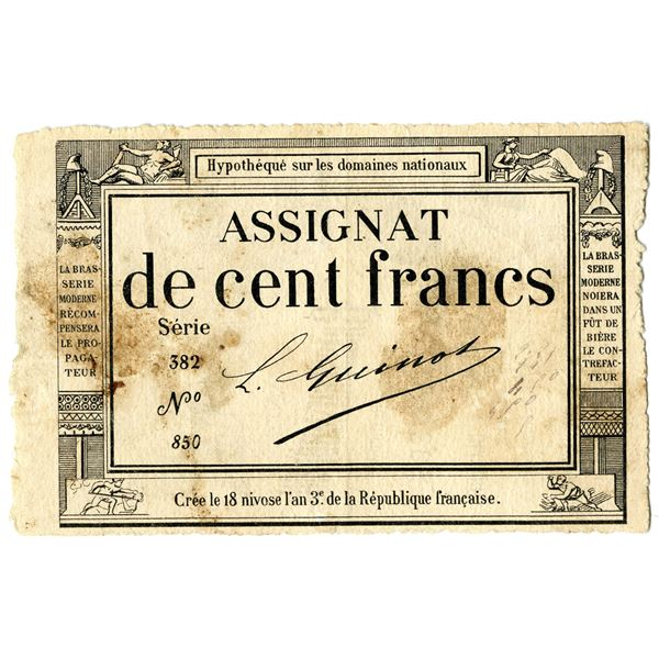 Republique Francaise, 1795 Franc Issue Used as Advertising Note.