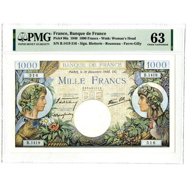 Banque de France, 1940 Issued Banknote