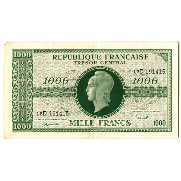 Republique Francaise Tresor Central, ND (1944) Issued Banknote