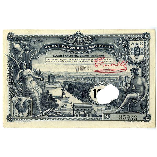 Union Economique de Montpellier, 1930 Emergency Currency Note