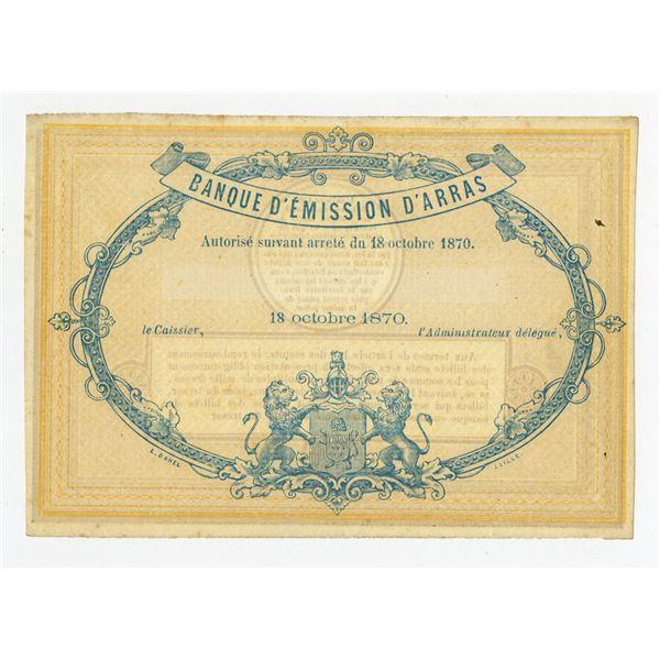 Banque d'Emission d'Arras, 1870 Remainder Banknote