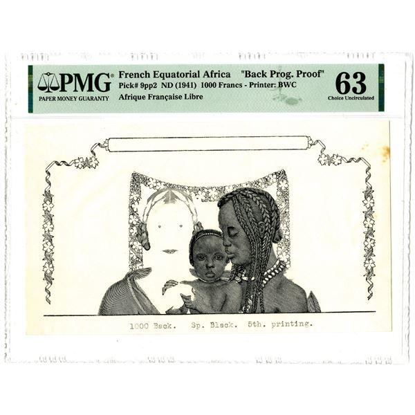Afrique Francaise Libre, ND (1941) Back Progressive Proof