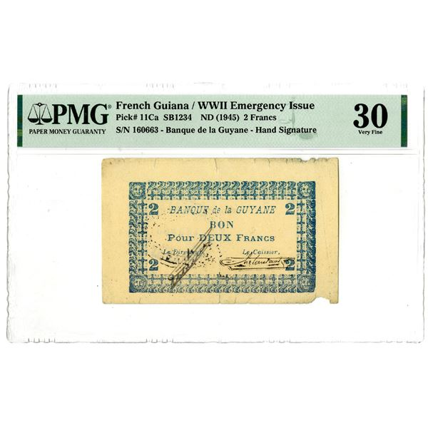 Banque de la Guyane, ND (1945) WWII Emergency Issue Banknote