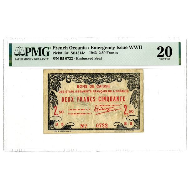 French Oceania, Bons de Caisse, 1943 Issued Banknote