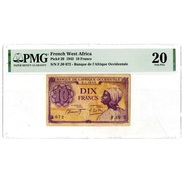 Banque de l'Afrique Occidentale, 1943 Issued Banknote