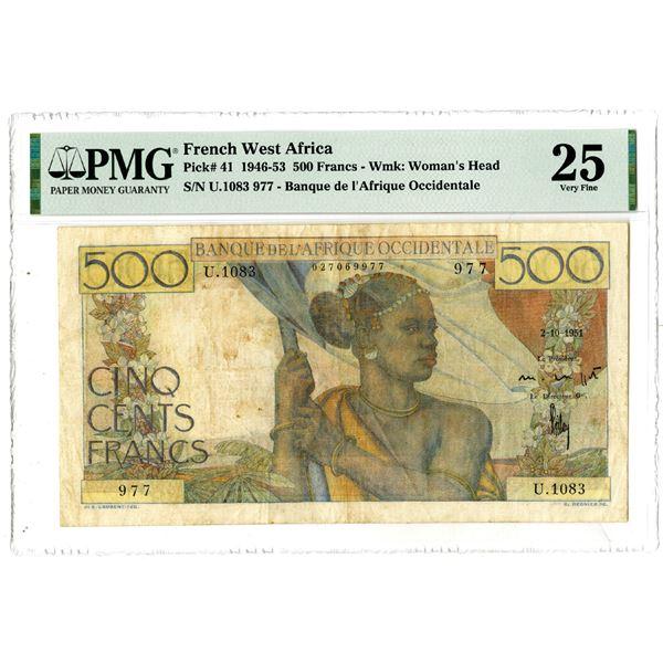Banque de l'Afrique Occidentale, 1946-53 Issued Banknote