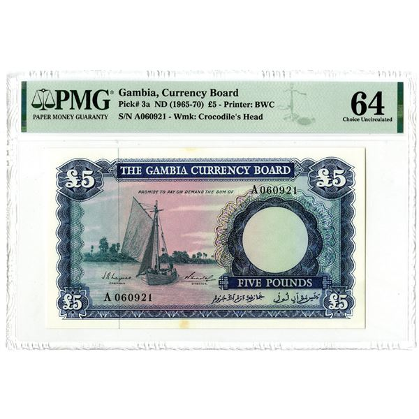 Gambia Currency Board, ND (1965-70) Issued Banknote
