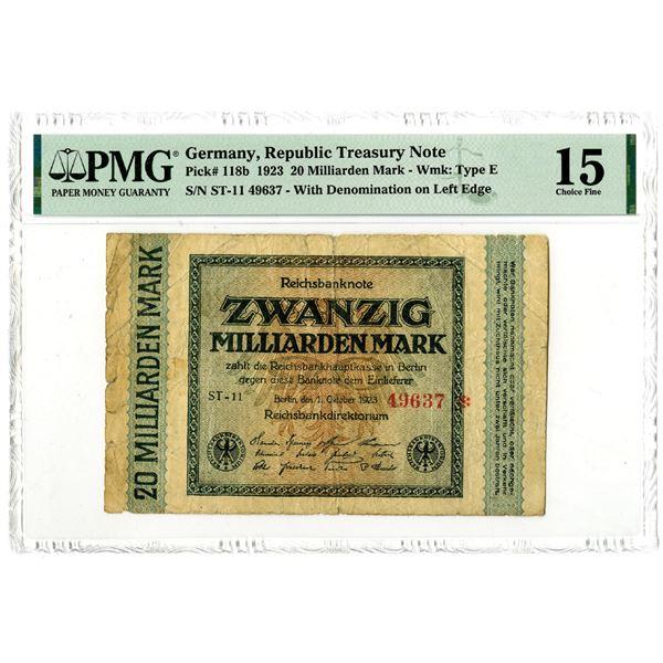 Germany, Republic Treasury Note, 1923 Error Issue Banknote