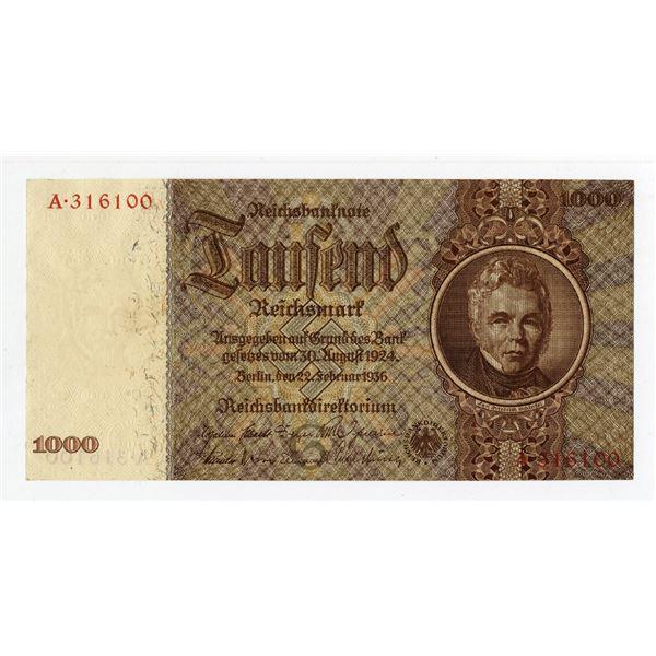 Reichsbanknote, 1936 Issued Banknote