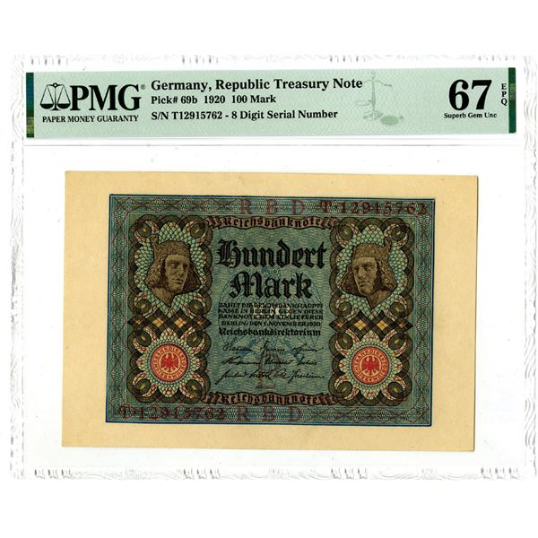Republic Treasury Note, 1920 Issued Banknote