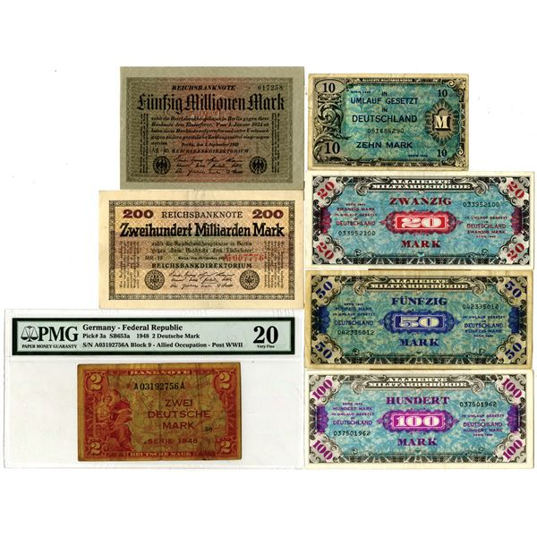 Large Assortment of Issued German Banknotes, ca. 1900-40s