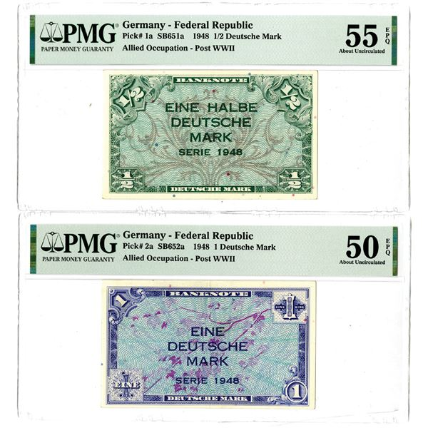 Germany - Federal Republic, Allied Occupation, 1948 Issued Banknote Pair