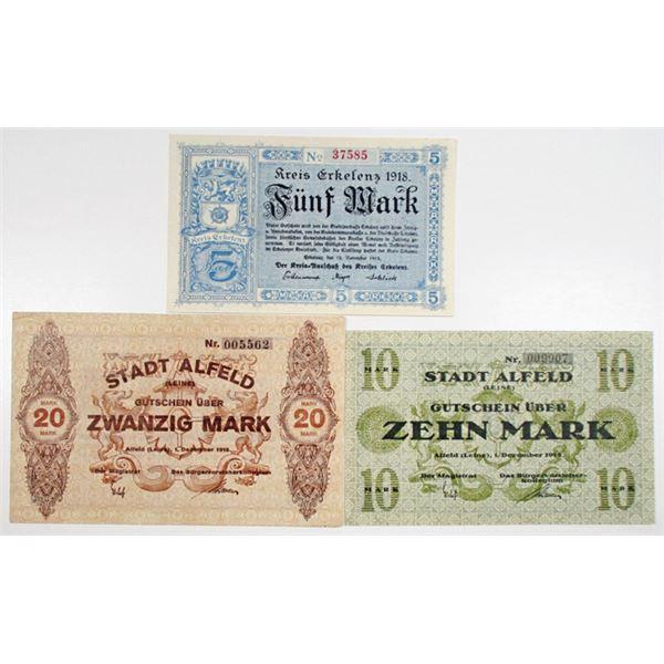 Alfeld and Erkelenz. 1918. Lot of 3 Issued Emergency Notgeld Notes.